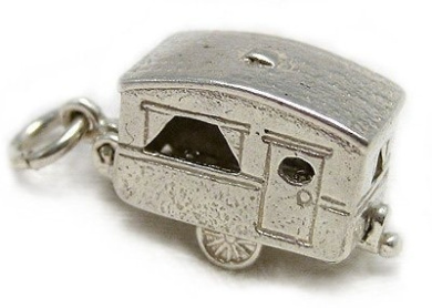 Welded Bliss Sterling 925 Silver Caravan Opening To Show Couple At A Table. WBC1082