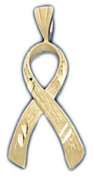 14k Yellow Gold Breast Cancer / HIV / AIDS Awareness Ribbon Pendent