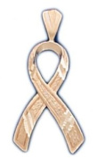 14k Rose Gold Breast Cancer / HIV / AIDS Awareness Ribbon Pendent