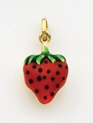 Red/Green/Black Enamelled Strawberry Charm, 14K Yellow Gold