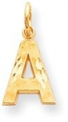 Diamond Cut Block Letter Charm, Yellow Gold
