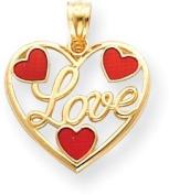 Enamelled Heart Love Charm, 14K Yellow Gold
