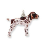 Sterling Silver Enamelled German Shorthaired Pointer Charm - 1.9cm x 2.2cm JewelryWeb - JewelryWeb
