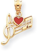 Musical Chart Red Heart Charm, 14K Yellow Gold