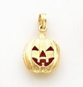 Orange (Inside) Enamelled Pumpkin Charm, 14K Yellow Gold