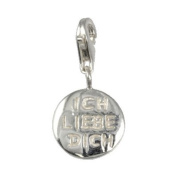 SilberDream Charm badge - Ich liebe Dich - 925 Sterling Silver Charms Pendant with Lobster Clasp for Charms Bracelet, Necklace or Charms Carrier FC3067