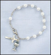 Childrens Girls Imitation Pearl Rosary Bracelet with Chalice & Cross Charm 6mm Bead, Perfect for Christmas, First Communion, Easter, Graduation, Sunday Dress, Christening or Birthday.