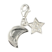 SilberDream Charm moon and star white Zirkonia, 925 Sterling Silver Charms Pendant with Lobster Clasp for Charms Bracelet, Necklace or Charms Carrier FC228W
