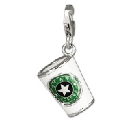 SilberDream Charm white and green enamelled coffeecup, 925 Sterling Silver Charms Pendant with Lobster Clasp for Charms Bracelet, Necklace or Earring FC666