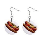 Chicago Style Hot Dog Dangle Earrings Jewellery 2.5cm Button 12322871