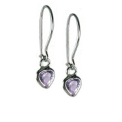 Lavender Purple Cubic Zirconia and Sterling Silver Heart Childrens Earrings