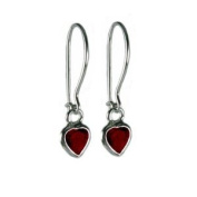 Red Cubic Zirconia and Sterling Silver Heart Childrens Earrings