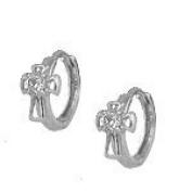 Sterling Silver Cubic Zirconia Cross Huggie Hoop Children's Earrings