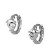 Sterling Silver Cubic Zirconia Dolphin Huggie Hoop Kids Earrings
