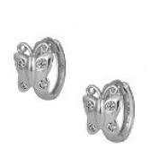 Girls Jewellery - Silver Cubic Zirconia Butterfly Huggie Hoop Earrings