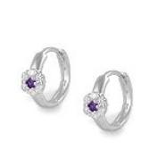 Silver Flower CZ & February Birthstone Huggie Hoop Children Earrings