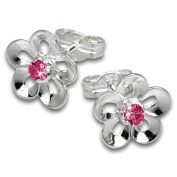 SilberDream earring silver water lily with dark pink zirconia, stud earring, 925 Sterling Silver SDO545P