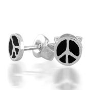 Bling Jewellery Childrens Jewellery Black Enamel Peace Sign Sterling Silver Earrings 5mm
