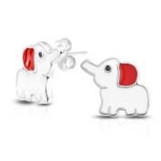 Bling Jewellery 925 Sterling Silver Elephant Kids Stud Earrings Red White Enamel