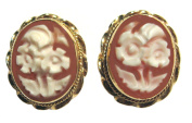 Cameo Earrings Art Deco Roses 18k Yellow Gold Italian Master Carved, Post Back Carnelian Conch Shell