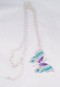 New 86.4cm Silver Tone Necklace with 6.4cm Wide Butterfly Pendant