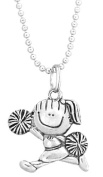 Clayvision Cheerleader Cheer Girl Pewter Pendant Necklace