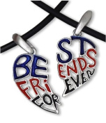 Dark - Red, Blue & Black - TWO HEARTS (41.9cm inch PVC) - Best Friends Necklace - BFF - 2-Piece Pewter Friendship Jewellery Set
