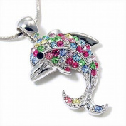 Small Multi Colour Dolphin Pendant Fashion Necklace