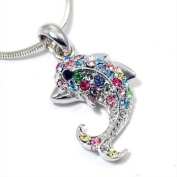Small Silver Dolphin Necklace with Colourful Rainbow Embellished Crystals