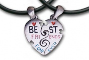 Pewter Heart Best Friends Pendants with 2 Thick PVC Necklaces