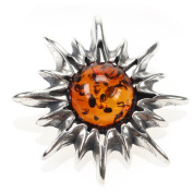 Genuine Baltic Amber and 925. Silver Flaming Sun Pendant