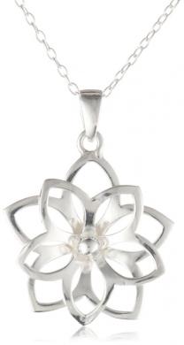 Sterling Silver Girl's Double Flower Pendant, 13-38.1cm