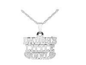 Kids 14K White Gold Daddy's Little Girl Pendant With Chain