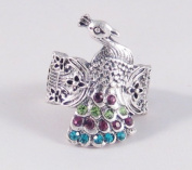 Silver Tone Peacock Stretch Ring with Colourful Genuine Crystals
