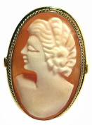 Cameo Ring Italian Master Carved Carnelian Conch Shell Size 7.5