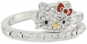Hello Kitty by Simmons Jewellery Co. Czech Crystals Flat Pave Face and Red Bow Girl's Spiral Ring, Size 7