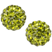Heirloom Finds 10 mm Crystal Pave Ball Earring Peridot Green