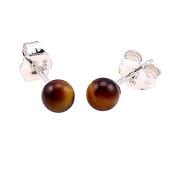 925 Sterling Silver 4mm Natural Brown Tigers Eye Ball Stud Post Earrings
