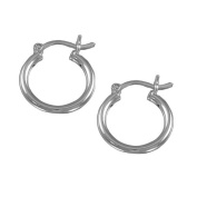Sterling Silver 2x16 mm Round Hoop Plain Earring