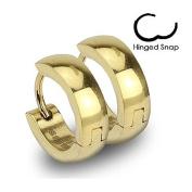 Pair Stainless Steel Gold Plated Ip Hinged Hoop Huggie Earrings