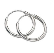 Continuous Endless Hoop Round Circle Small Sterling Silver Earrings 12mm