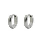 Small Stainless Steel Silver Tone Unisex Huggie Hoop Earrings 10mm