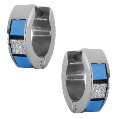Stainless Steel Blue and White Tiles Huggie Hoop Earrings 13mm Length, 5mm Width