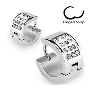 Pair Stainless Steel Cz Crystal Paved Hoop Earrings Mens Womens