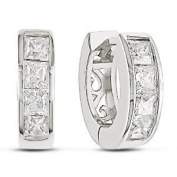 Jewellery Bling Tiny Cz .925 Sterling Silver Huggie Hoop Earrings 2 Ctw - Ear Huggers