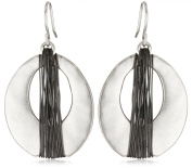 Kenneth Cole New York Silver-Tone and Hematite-Colour Wire Wrapped Oval Hoop Drop Earrings