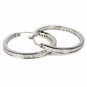 STERLING SILVER CZ HOOP EARRINGS 24mm