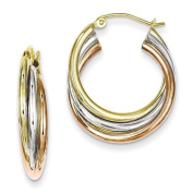 Sterling Silver Tri Colour Gold Plated Hoop Earrings