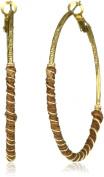 T.R.U. Jewellery Wrapped Walnut Brown Brass Hoop Earrings