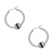 Sterling Silver with Black / White CZ Ball Hoop Earrings